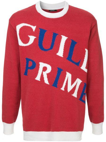 С рукавами красный акриловый свитер в рубчик Guild Prime