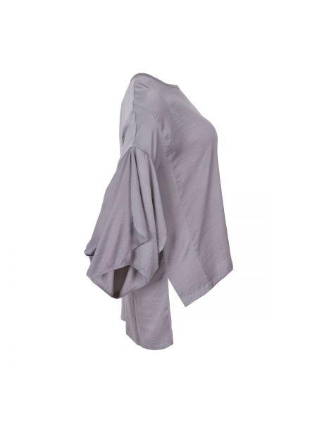 Серая свободная туника с длинными рукавами с рисунком мембранная Mat Fashion