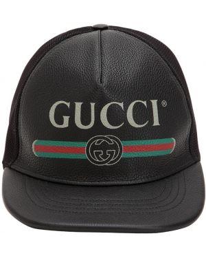 Kapelusz skórzany z logo Gucci