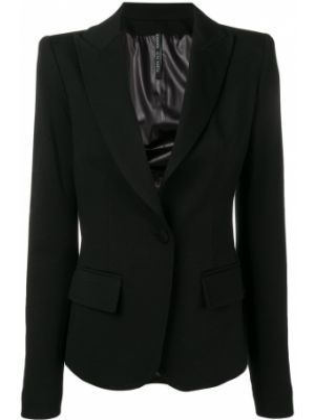 Приталенная прямая черная куртка на пуговицах Plein Sud