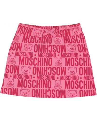 Różowa spódnica bawełniana z printem Moschino Kids