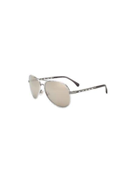 Плетеные серебряные солнцезащитные очки металлические Chanel