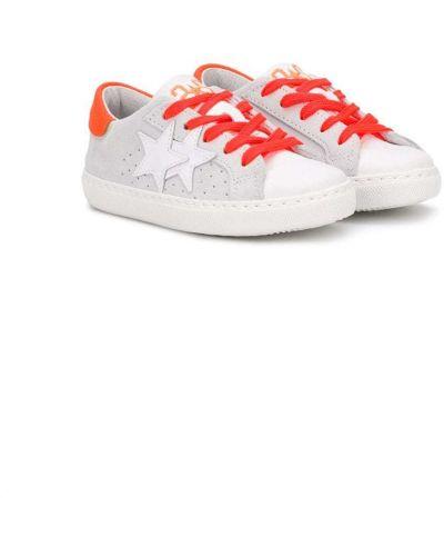 Кожаные белые кроссовки на шнуровке с перфорацией 2 Star Kids