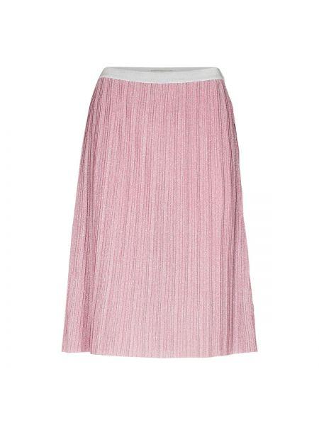 Расклешенная розовая юбка миди в рубчик с поясом NÜmph