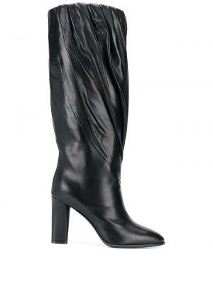 Ażurowe czarne kozaki na obcasie skorzane Givenchy