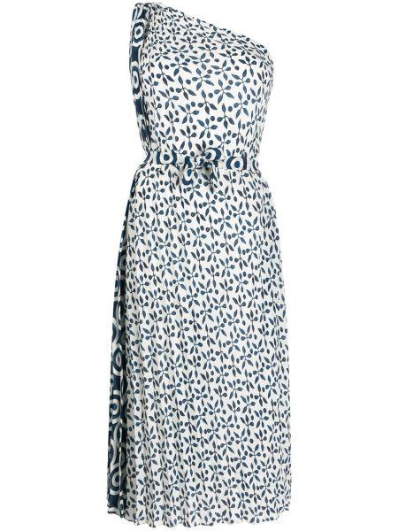 Белое платье миди на одно плечо без рукавов Oscar De La Renta