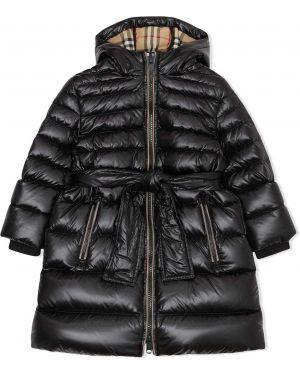 Długi płaszcz z kapturem z kieszeniami Burberry Kids