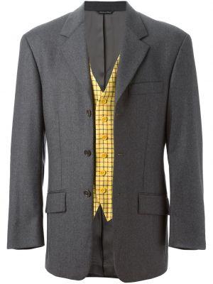 Серый шерстяной пиджак на пуговицах винтажный Moschino Pre-owned