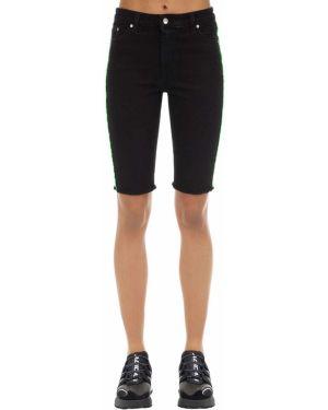 Хлопковые черные джинсовые шорты с карманами Represent