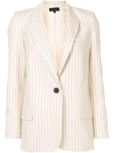 Однобортный белый удлиненный пиджак с карманами Nili Lotan