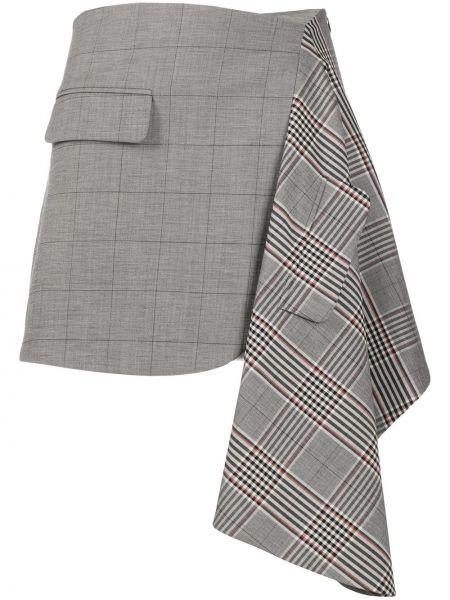 Шерстяная серая асимметричная юбка с драпировкой Monse