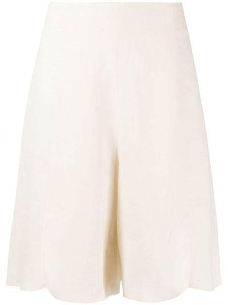 Бежевые льняные шорты до середины колена L'autre Chose