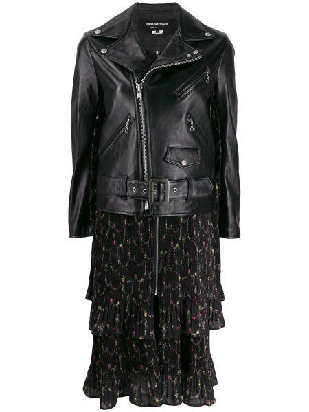 Кожаная куртка на молнии - черная Junya Watanabe