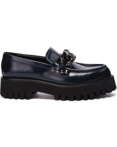 Кожаные синие туфли закрытые Casadei