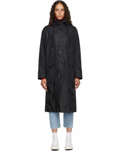 Satynowy czarny długi płaszcz z kapturem Opening Ceremony