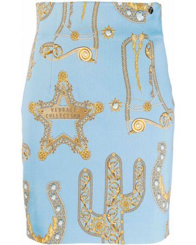 Приталенная синяя плиссированная юбка мини Versace Collection