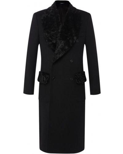Пальто с мехом из овчины кашемировое Dolce & Gabbana