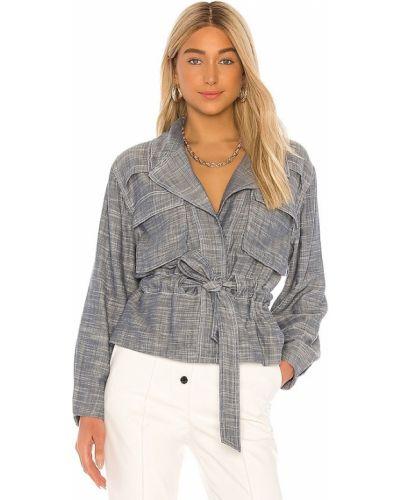 Ze sznurkiem do ściągania niebieski kurtka jeansowa z kieszeniami za pełne L'academie