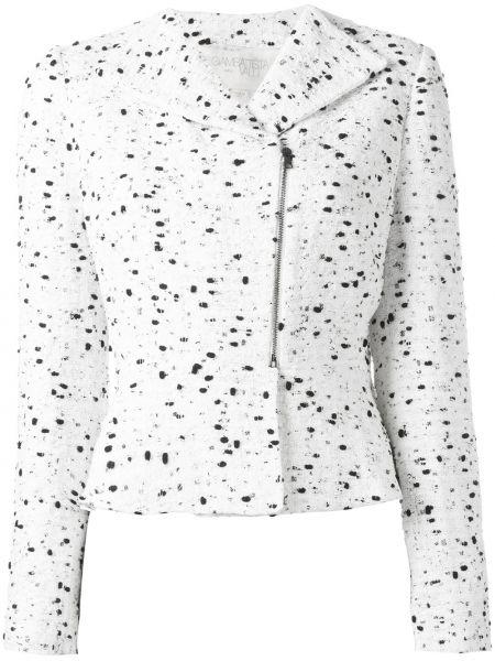 Белый пиджак твидовый на молнии Giambattista Valli