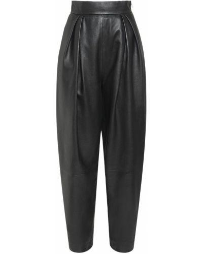Кожаные брюки с карманами с высокой посадкой Alberta Ferretti