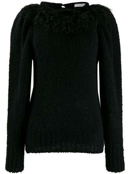 Черный вязаный длинный свитер с бахромой Philosophy Di Lorenzo Serafini