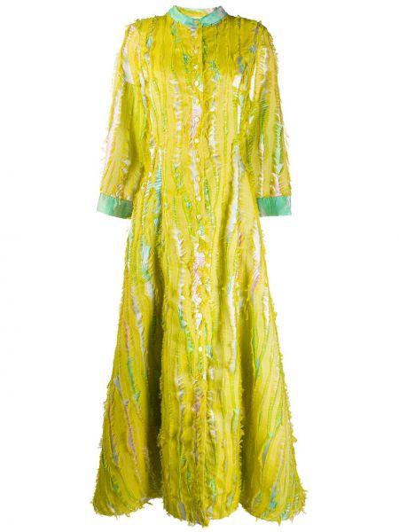 Żółta sukienka długa rozkloszowana z długimi rękawami Evi Grintela