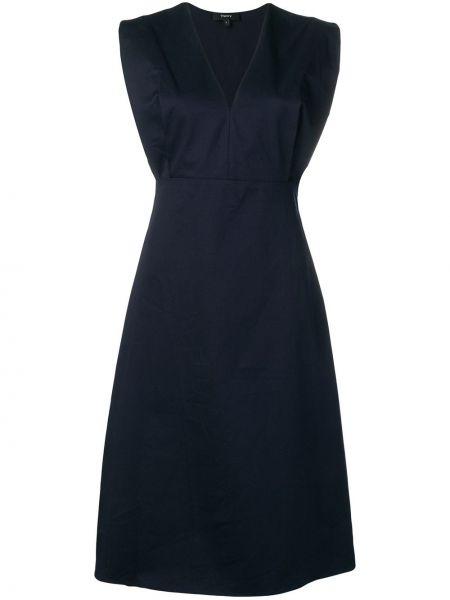 Синее приталенное платье миди с V-образным вырезом без рукавов Theory