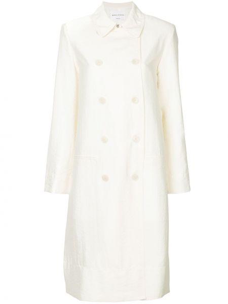 Шелковое белое пальто двубортное с капюшоном Sonia Rykiel