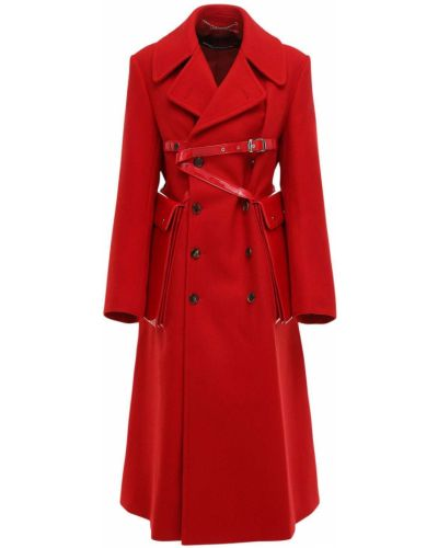 Кожаное пальто с карманами с манжетами Junya Watanabe