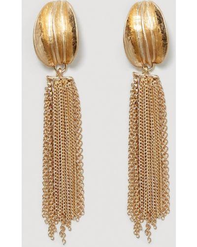 Золотые серьги из золота с подвесками Mango