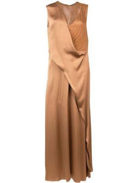 Шелковое платье макси - коричневое Sies Marjan