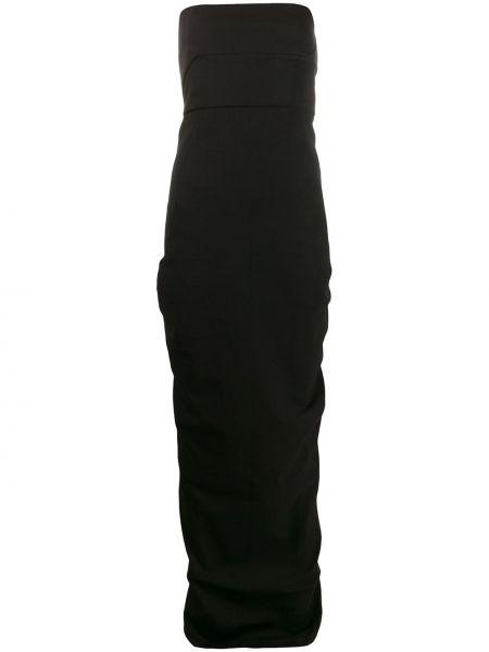 Czarna sukienka długa z kapturem z wiskozy Rick Owens