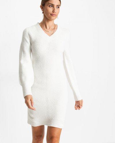 Вязаное платье - белое Bonprix