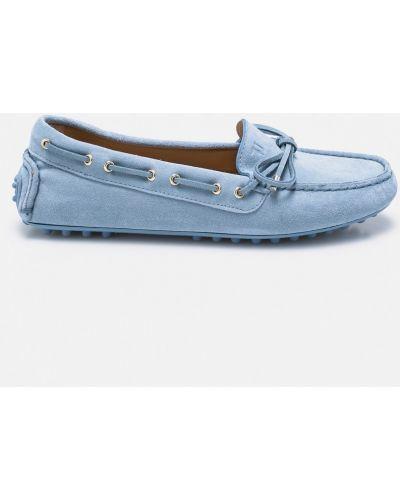 Niebieskie mokasyny skorzane Trussardi Jeans