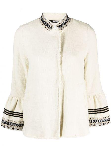 Хлопковый удлиненный пиджак в полоску с круглым вырезом Bazar Deluxe