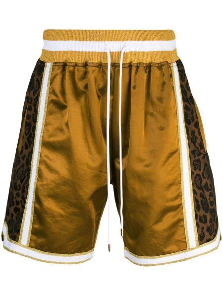 Złote krótkie szorty z printem do koszykówki Just Don