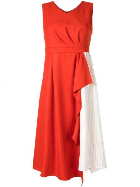 Pomarańczowa sukienka midi rozkloszowana w paski Loveless