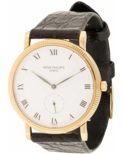 Черные кожаные часы круглые Patek Philippe