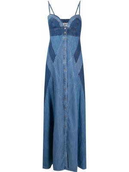 Синее платье макси с вырезом на пуговицах Diesel