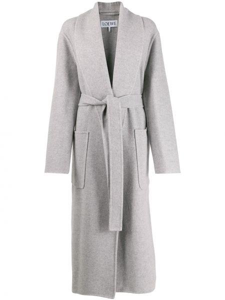 Серое кашемировое длинное пальто с капюшоном Loewe