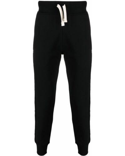 Czarne spodnie bawełniane z printem Hydrogen