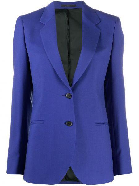 Шерстяной синий приталенный пиджак на пуговицах Paul Smith