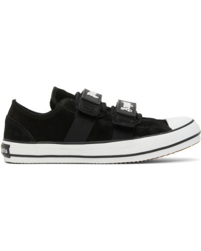 Zamsz czarny sneakersy z logo na paskach Palm Angels