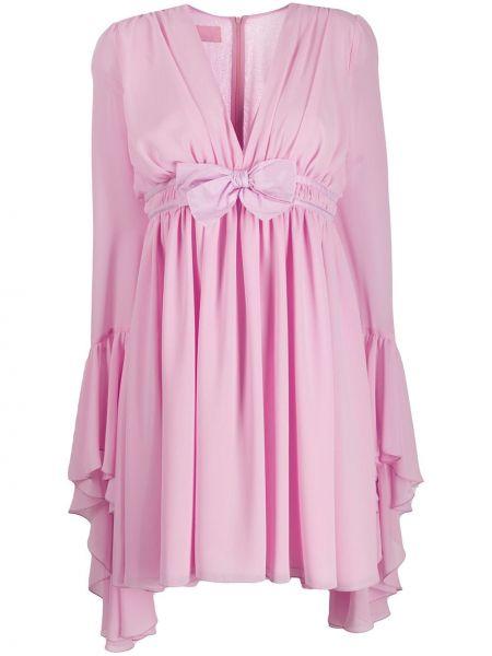 Różowa sukienka mini z długimi rękawami z dekoltem w serek Giamba