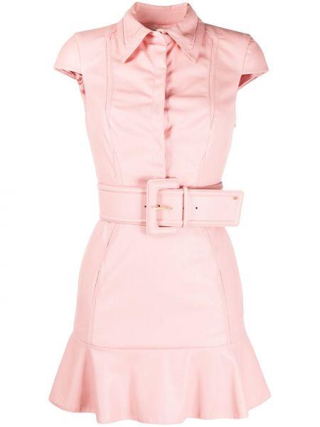 Платье с поясом розовое с отложным воротником Elisabetta Franchi