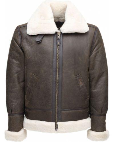 Кожаная куртка с воротником - коричневая Schott