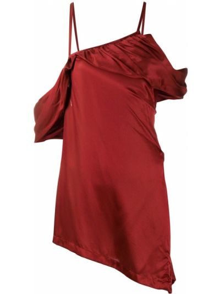 Шелковый красный топ с открытыми плечами с драпировкой Ann Demeulemeester