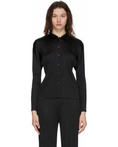 Czarna koszula z długimi rękawami Pleats Please Issey Miyake