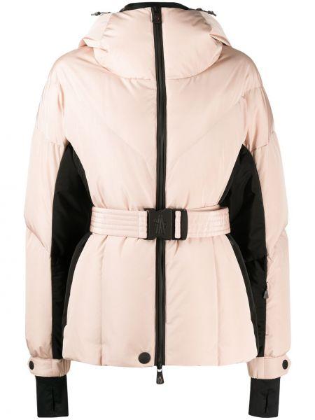 Розовая пуховая длинная куртка с капюшоном Moncler Grenoble