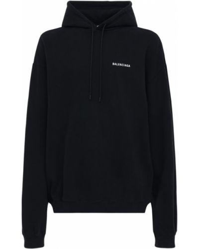 Bawełna czarny bawełna bluza z kapturem Balenciaga